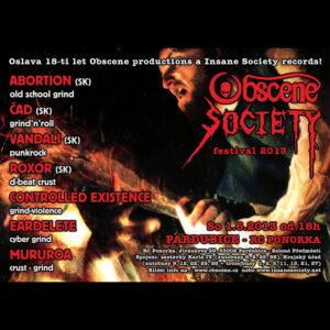 OBSCENE SOCIETY FESTIVAL 2013