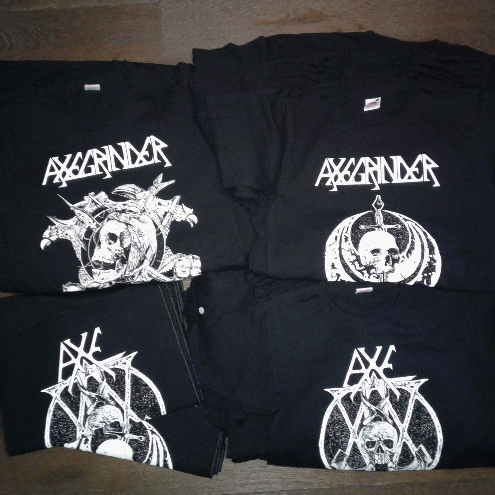 AXEGRINDER – backpatches and t-shirts free copies for the band – leaving tomorrow