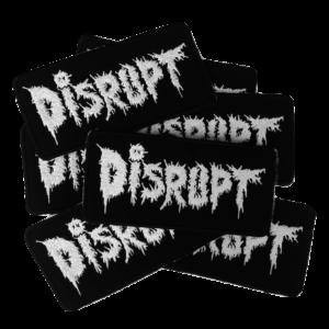 DISRUPT – white logo – vyšívaná nášivka