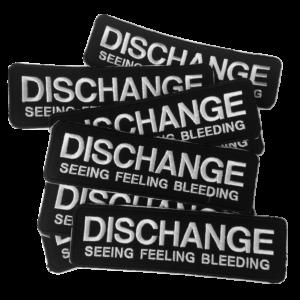 DISCHANGE – white logo – vyšívaná nášivka