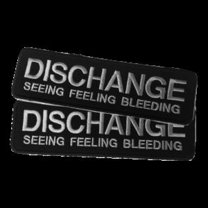 DISCHANGE – silver logo – vyšívaná nášivka